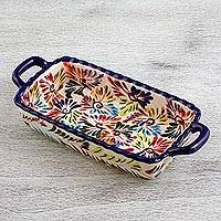 Ceramic relish tray, Dance of Colors - Mexican Ceramic Tray with Hand Painted Floral Motifs