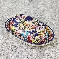 Ceramic butter dish, 'Dance of Colors' - Hand-Painted Talavera Ceramic Butter Dish from Mexico