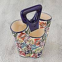 Ceramic utensil holder, 'Dance of Colors' - Hand-Painted Talavera Ceramic Utensil Holder from Mexico
