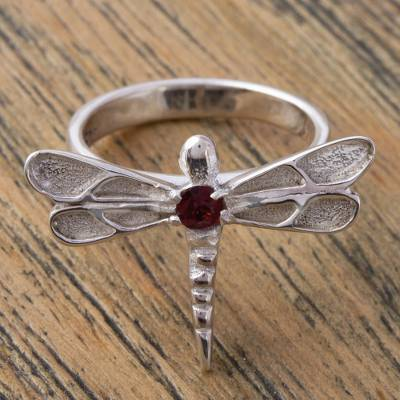 Garnet cocktail ring, 'Dragonfly Attraction' - Garnet and 925 Sterling Silver Dragonfly Ring from Mexico