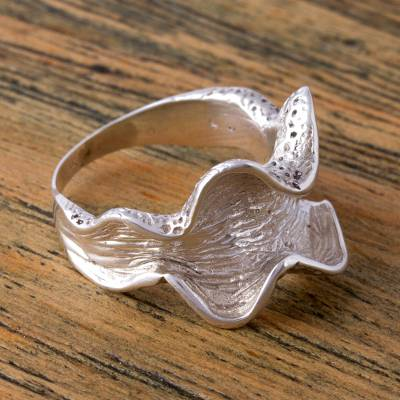 Handcrafted Sterling Silver Wavy Cocktail Ring from Mexico