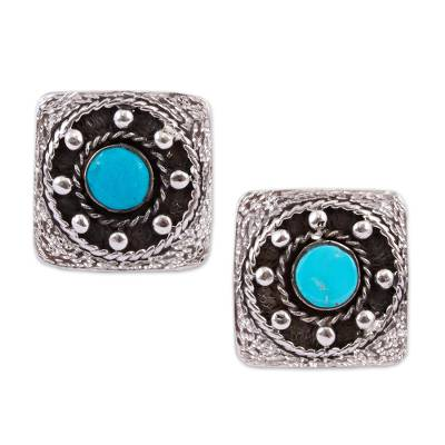 Artisan Crafted Sterling Silver and Turquoise Cufflinks