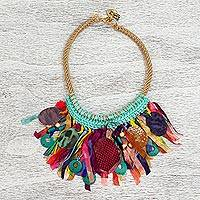 Statement necklace, 'Colorful Thicket' - Colorful Wood and Fabric Statement Necklace from Mexico