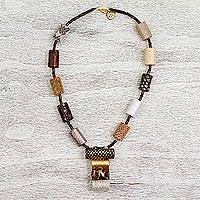 Leather and wood pendant necklace, 'Colors of the Forest' - Leather and Wood Beaded Pendant Necklace from Mexico