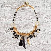 Gold plated onyx statement necklace, 'Night Tusk' - 24k Gold Plated Onyx Statement Necklace from Mexico