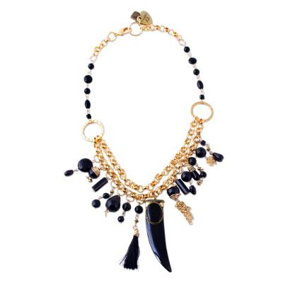 24k Gold Plated Onyx Statement Necklace from Mexico