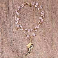 Gold plated rose quartz pendant necklace, 'Rosy Wing' - Gold Plated Rose Quartz Wing Pendant Necklace from Mexico