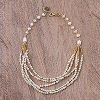 Gold accent cultured pearl beaded necklace, 'Marine Festival' - Gold Accent Cultured Pearl Beaded Necklace from Mexico