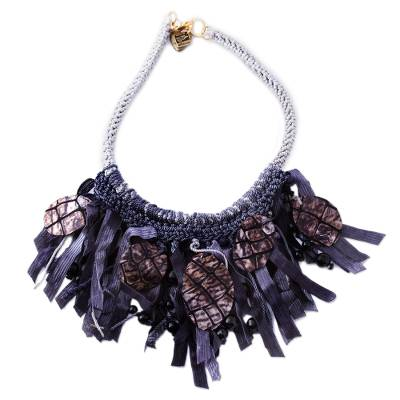 Onyx and Leather Statement Necklace from Mexico