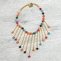 Gold plated agate waterfall necklace, 'Mexican Rain' - Gold Plated Agate Waterfall Necklace from Mexico