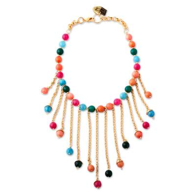 Gold Plated Agate Waterfall Necklace from Mexico