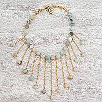 Gold plated amazonite waterfall necklace,