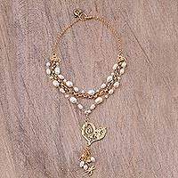 Gold plated cultured pearl Y-necklace, 'Glowing Love' - Gold Plated Cultured Pearl Pendant Necklace from Mexico