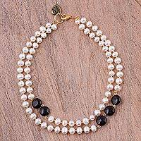 Gold plated cultured pearl and onyx beaded necklace, 'Daylight Strands' - Onyx and Cultured Pearl Beaded Necklace from Mexico