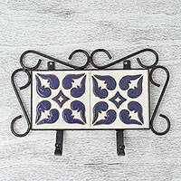 Ceramic and iron coat rack, 'Indigo Petals' - Ceramic and Iron Coat Rack in Vanilla and Indigo from Mexico