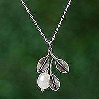 Cultured pearl pendant necklace, 'Iridescent Pear' - Mexican Necklace with Cultured Pearl and 925 Silver Leaves