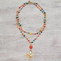 Gold plated carnelian and quartz pendant necklace, 'Twilight Butterfly' - Gold Plated Carnelian Beaded Pendant Necklace from Mexico