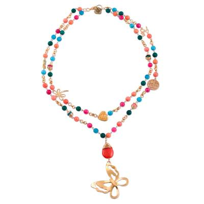 Gold Plated Carnelian Beaded Pendant Necklace from Mexico