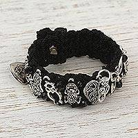 Macrame wristband bracelet, 'Midnight Luck' - Black Macrame Wristband Charm Bracelet from Mexico