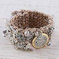 Gold accent Swarovski crystal wristband bracelet, 'Gleaming Saint Benedict' - Gold Accent Swarovski Crystal Religious Bracelet from Mexico