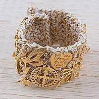 Gold accent wristband bracelet, 'Radiant Luck' - Gold Accent Beige Wristband Bracelet from Mexico