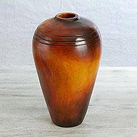 Ceramic decorative vase, 'Village Sunset' - Handcrafted Tall Ceramic Decorative Vase from Mexico