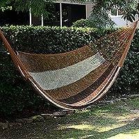 Handwoven hammock, 'Near the Sea' (double) - Handwoven Mayan Striped Double Hammock in Brown from Mexico