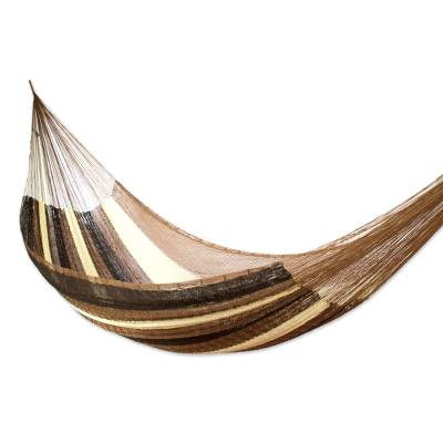 Handwoven Mayan Striped Double Hammock in Brown from Mexico