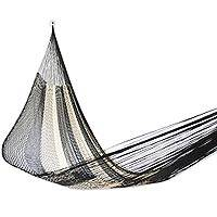 Hammock, 'Night Stripes' (double) - Handwoven Double Hammock in Black and Natural from Mexico