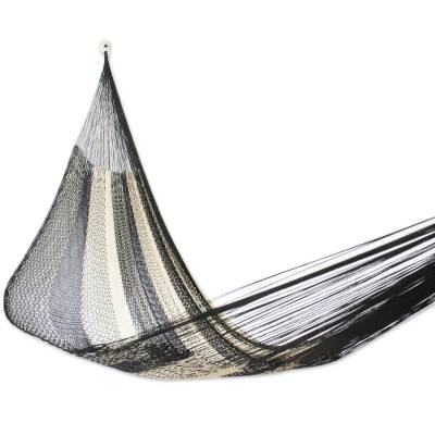 Handwoven Double Hammock in Black and Natural from Mexico