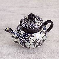 Ceramic coffee pot, 'Guanajuato Lilies' - Ceramic Floral Coffee Pot in Blue and White from Mexico