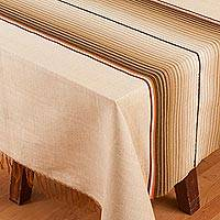 Cotton blend tablecloth, 'Tranquil Path' (5.5x8.5) - Striped Cotton Blend Tablecloth from Mexico (5.5x8.5)