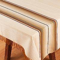 Cotton blend tablecloth, 'Tranquil Path' (5x5) - Striped Buff Cotton Blend Tablecloth from Mexico (5x5)