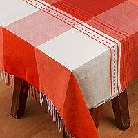 Cotton blend tablecloth, 'Fire of the Earth' - Woven Cotton Blend Plaid Tablecloth from Mexico
