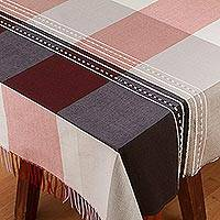 Cotton and silk blend tablecloth, 'Soft Shadows' - Woven Plaid Cotton Blend Tablecloth from Mexico