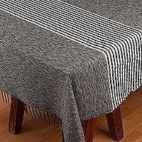 Cotton blend tablecloth, 'Shadow of a Cloud' - Woven Striped Grey Cotton Blend Tablecloth from Mexico