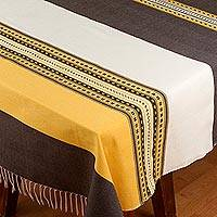 Cotton and silk blend tablecloth, 'Morning and Night' - Woven Yellow and Grey Cotton Blend Tablecloth from Mexico