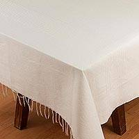 Cotton and silk blend tablecloth, 'Peaceful Morning' - Alabaster Woven Cotton Blend Tablecloth from Mexico