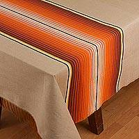 Cotton and silk blend tablecloth, 'Desert Path' - Striped Cotton Blend Tablecloth from Mexico