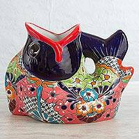 Ceramic planter, 'Fishing for Flowers' - Multicolor Ceramic Floral Fish Planter from Mexico