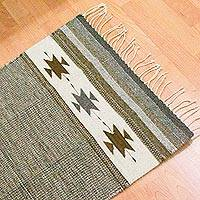 Wool area rug, 'Desert Landscape' (2x3) - Hand Woven Natural Tone Floor Wool Rug from Mexico (2x3)