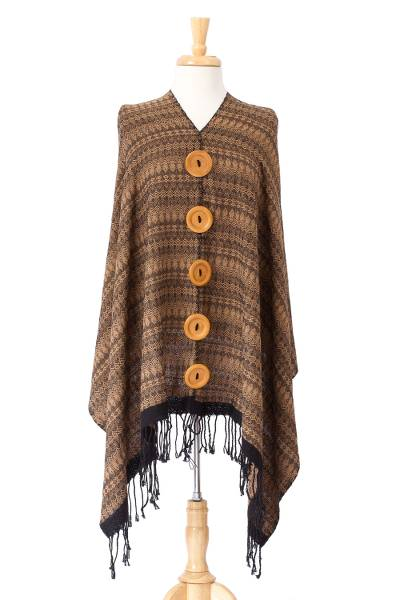 Brown and Black Woven Cotton Cape from Mexico