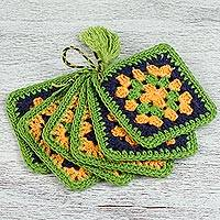 Cotton coasters, 'Happiness of Colors in Lime' (set of 6) - Six Hand Crocheted Cotton Coasters in Lime from Mexico