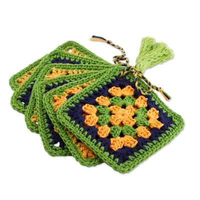 Six Hand Crocheted Cotton Coasters in Lime from Mexico