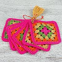 Cotton coasters, 'Happiness of Colors' (set of 6) - Six Hand Crocheted Multicolored Cotton Coasters from Mexico