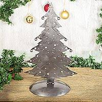 Recycled metal sculpture, 'Christmas Tree Gleam' - Recycled Metal Christmas Tree Sculpture from Mexico