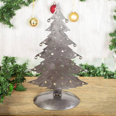 Recycled metal sculpture, Christmas Tree Gleam