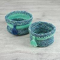 Knit nesting baskets, 'Looking at the Sky' - Pair of Artisan Hand Knit Nesting Baskets from Mexico