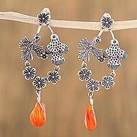 Carnelian dangle earrings, 'Kantu Flower' - Mexican Flower Bird Sterling Silver and Carnelian Earrings