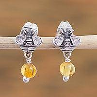 Sterling silver and amber earrings, 'Bee Sweet' - Sterling Silver Amber Honeybee Post Earrings Crafted Mexico